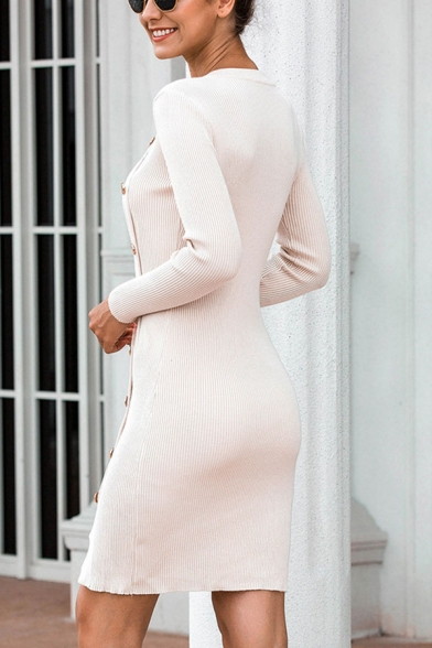 Basic Womens Apricot Long Sleeve Crew Neck Oblique Button Slit Knitted Short Bodycon Dress
