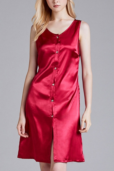 Chic Womens Plain Single Breasted Bow Tie Belted Collarless Sleeveless Silk Midi A-Line Nightdress