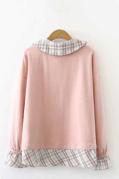 Cute Ladies Cartoon Cat Japanese Letter Graphic Print Plaid Patchwork Fake Two Pieces Peter Pan Collar Flare Cuff Long Sleeve Relaxed Fit Pullover Sweatshirt