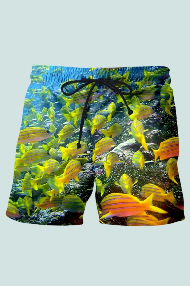 Mens 3D Shorts Creative Fish Coral Stone Seabed Pattern Drawstring Waist Regular Fitted Relaxed Shorts