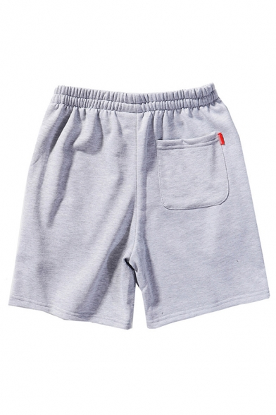 Mens Shorts Chic Rainbow Cloud Embroidered Knee-Length Drawstring Waist Regular Fitted Sweat Shorts