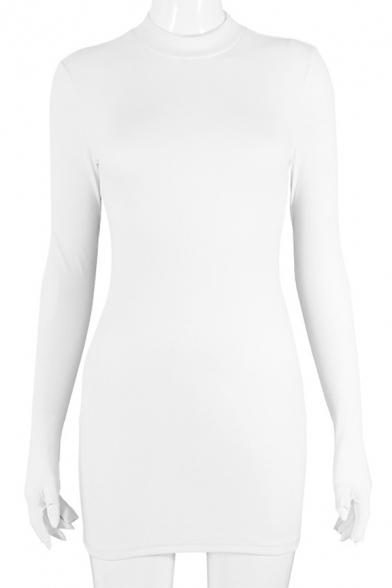 New Arrival Mock Neck Glove Long Sleeve Basic Solid Mini Slim Sweater Dress