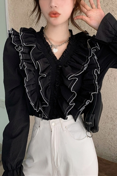 Pretty Contrast Piped Long Sleeve V-neck Ruffled Bi-layered Button Up Slim Fit Shirt Top for Ladies