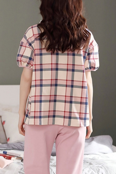 Pretty Womens Tartan Print Stringy Selvedge Keyhole Tie Neck Short Sleeve Relaxed T-Shirt & Elastic Waist Pocket Capri Pants Pajama Set in Pink