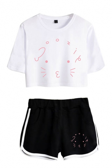 Simple Ladies Cartoon Printed Short Sleeve Round Neck Regular Fit Crop T-Shirt & Elastic Waist Tape Contrast Trim Pockets Shorts Set