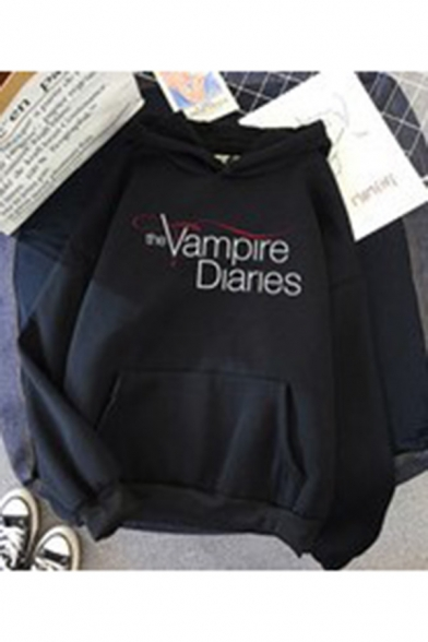 Unique Letter The Vampire Diaries Graphic Printed Drawstring Kangaroo Pocket Long Sleeve Loose Fit Hooded Sweatshirt