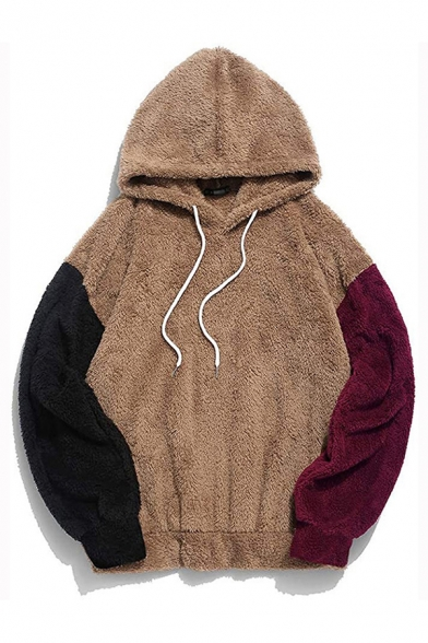 Classic Mens Hoodie Contrasted Fleece Drawstring Long Sleeve Relaxed Fitted Hoodie