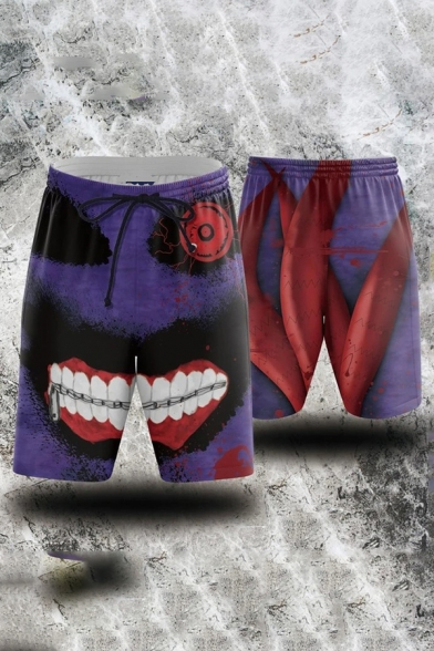 Cool Mens Shorts Zombie Bloodstain Letter Printed Knee-Length Drawstring Waist Regular Fitted Sweat Shorts