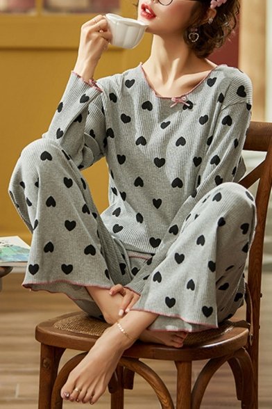 Cute All Over Heart Stringy Selvedge Long Sleeve Crew Neck Ribbed Tee & Relaxed Pants Green Pajamas Set
