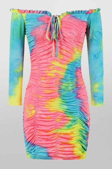 Fashion Ladies Colorful Tie Dye Printing Pleated Drawstring Stringy Selvedge Off the Shoulder Long Sleeve Mini Bodycon Dress