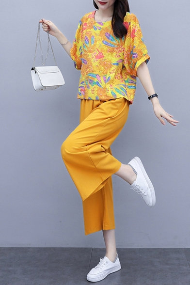 Fashion Womens Linen and Cotton Flower Leaf Printed 3/4 Sleeve Round Neck Loose T Shirt & Cropped Baggy Wide-leg Pants Set