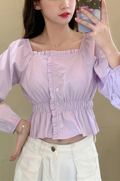 Girls Cute Plain Long Sleeve Square Neck Stringy Selvedge Button Up Ruffled Slim Fit Crop Blouse Top