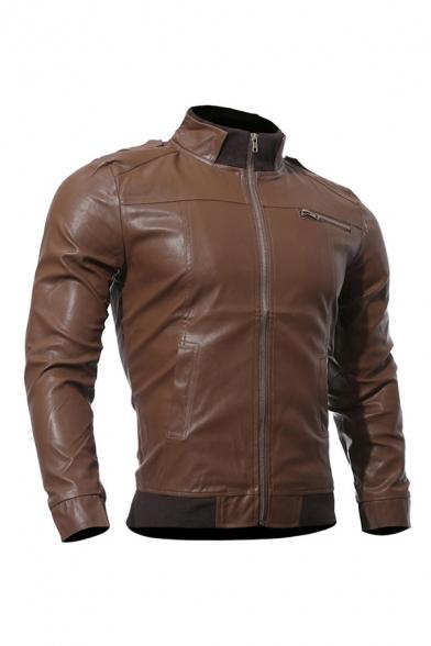 Mens Jacket Fashionable Rib Trim Zipper Decorated Long Sleeve Mock Neck Slim Fitted Leather Jacket