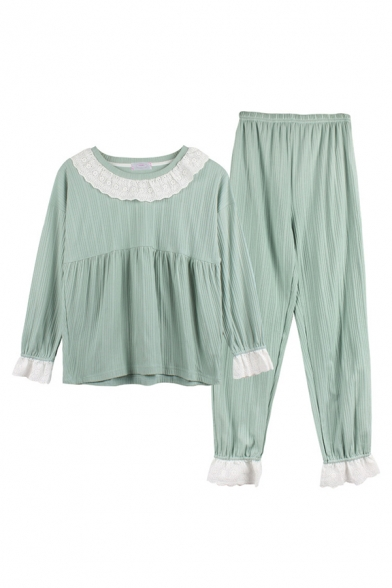 Simple Lace Patched Long Sleeve Ribbed Loose T Shirt & Straight Pants Pajamas Set in Green