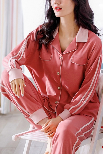 Simple Tape Panel Long Sleeve Notched Collar Button Up Loose Top & Cuffed Tapered Fit Pants Pajamas Set in Red