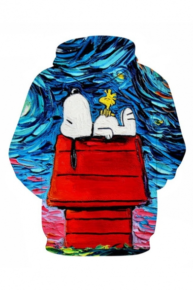 Snoopy Starry Night Galaxy Oil Painting Print Loose Fit Pullover Hoodie in Blue