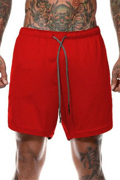 Sports Mens Solid Color Drawstring Waist Zipper Detail Relaxed Fit Shorts