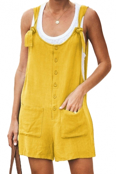 Trendy Womens Solid Color Button Front Pocket Straps Sleeveless Relaxed Fit Overalls Romper