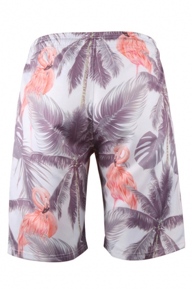 Tropical Style Shorts Coconut Tree Wave Flamingos 3D Printed Pockets Drawstring Knee Length Straight Fit Relaxed Shorts for Men