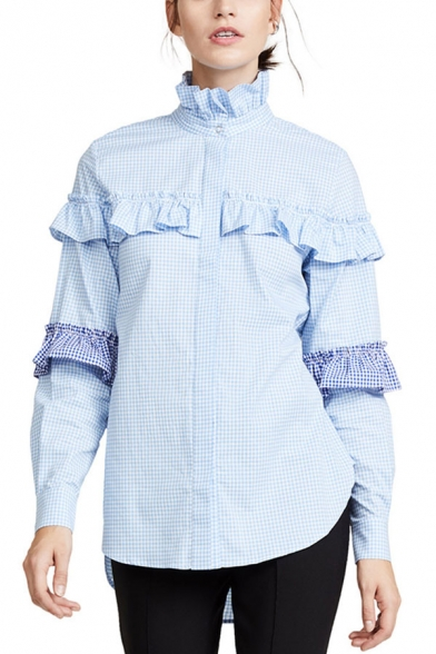 Vintage Womens Plaid Printed Patchwork Ruffled Stringy Selvedge Curved Hem Button up Stand Collar Long Sleeve Regular Fit High Low Shirt in Blue