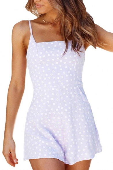 Womens Rompers Simple Daisy Pattern Spaghetti Strap Sleeveless Regular Fitted Wide Leg Rompers
