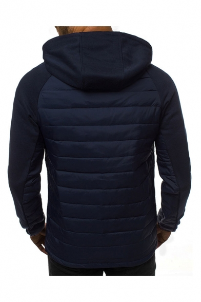 Casual Hooded Sweatshirt Color Block Patchwork Drawstring Zip Placket Long-sleeved Quilted Fitted Hooded Sweatshirt for Men