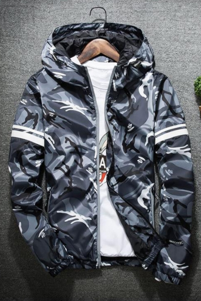 Chic Color Block Camouflage Print Long Sleeve Zipper Hooded Windproof Jacket