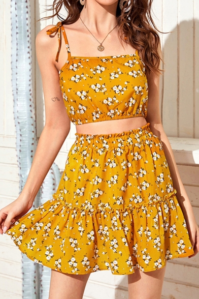 Chic Girls Ditsy Floral Printed Bow Tied Shoulder Regular Fit Crop Cami & Ruffled Mini Pleated A-line Skirt Co-ords in Yellow