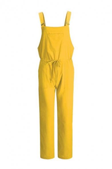 Classic Womens Overalls Plain Cotton Linen Square-Neck Drawstring Waist Regular Fitted Sleeveless Overalls