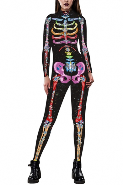 Cool 3D Jumpsuit Colored Skeleton Wings Shining Pattern Drawstring Pocket Zipper Ankle Length Long-sleeved Skinny Fit Hooded Jumpsuit for Women