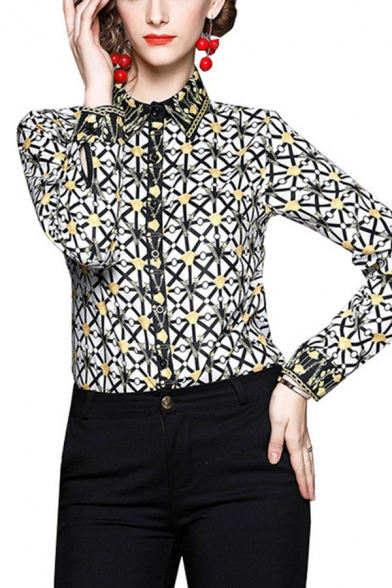 Green Vintage Plaid Pattern Single Breasted Point Collar Long Sleeve Regular Fit Shirt for Women
