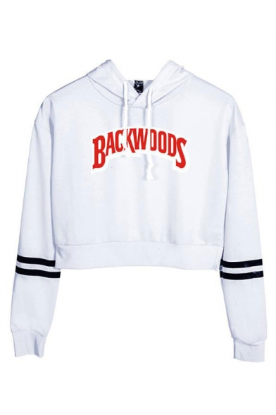 BACKWOODS Letter Contrast Striped Long Sleeve Cropped Hoodie for Woman