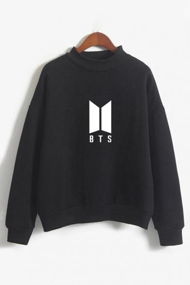 Hot Fashion BTS Pattern Long Sleeve Crew Neck Regular Sweatshirt