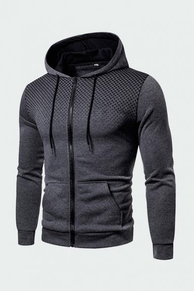 Men's Comfortable Hoodie Dots Geometric Pattern Zip Closure Pockets Long Sleeve Drawstring Slim Fit Sporty Hoodie