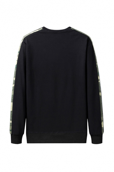 Mens Pullover Sweatshirt Casual Three-Lines Side Tape Knitted Trim Round Neck Long Sleeve Regular Fit Pullover Sweatshirt