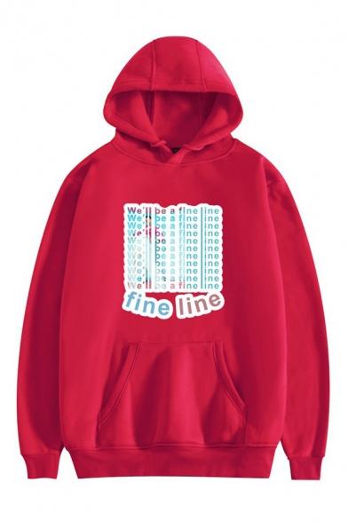 Popular Figure Heart Letter Love Graphic Printed Drawstring Kangaroo Pocket Long Sleeve Loose Fit Hooded Sweatshirt