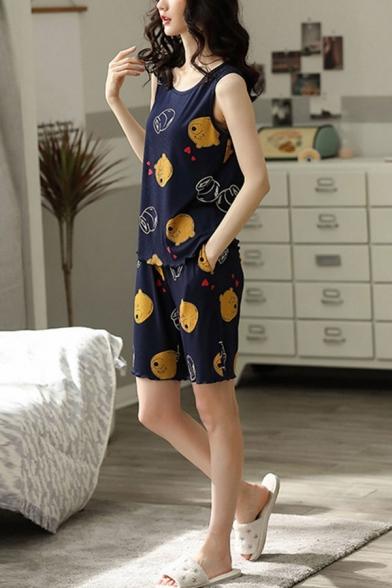 Popular Ladies Cartoon Bear Print Lettuce Trim Scoop Neck Sleeveless Loose Tank Top & Pocket Shorts Pajama Set in Blue