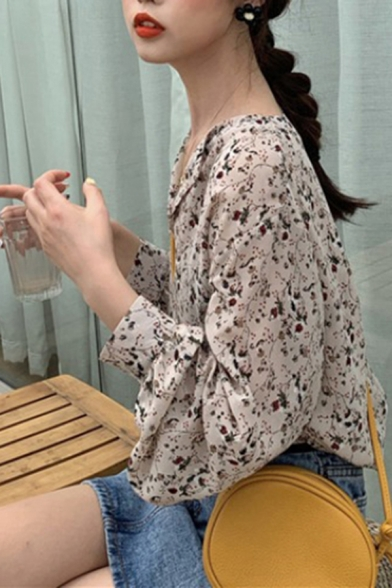 Pretty Ladies Ditsy Floral Printed Notched Collar Bishop Long Sleeve Relaxed Fit Shirt in Apricot