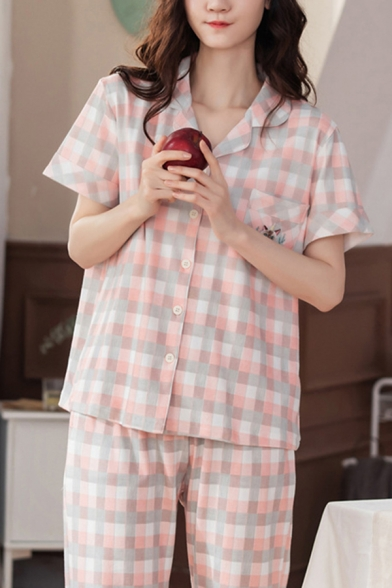 Pretty Womens Checkered Printed Embroidered Short Sleeve Notched Collar Button-up Relaxed T Shirt & Straight Pants Pink Pajamas Set