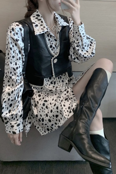 Stylish Womens Cow Printed Long Sleeve Spread Collar Button Up Long Loose Fit Shirt Top in White