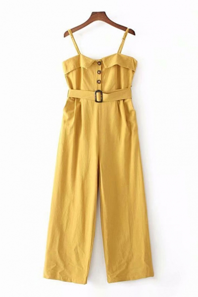 Basic Womens Jumpsuits Plain Pleated Buckle Belted Single-Breasted Sleeveless Spaghetti Strap Loose Fitted Jumpsuits