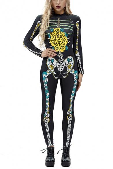 Cozy 3D Jumpsuit Colored Skeleton Floral Splash Ink Pattern Drawstring Pocket Zipper Ankle Length Long-sleeved Skinny Fit Hooded Jumpsuit for Women