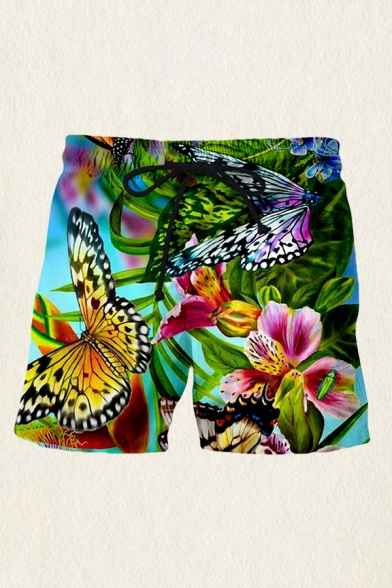 Mens Fancy Shorts Butterfly Floral Leaf 3D Print Drawstring Waist Straight Fit Over the Knee Length Relaxed Shorts