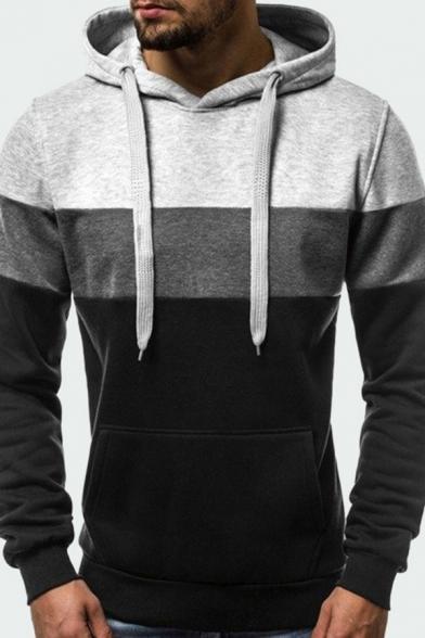 Mens Fashion Hooded Sweatshirt Color Block Drawstring Ribbed Trim Kangaroo Pocket Long-sleeved Slim Fit Hooded Sweatshirt
