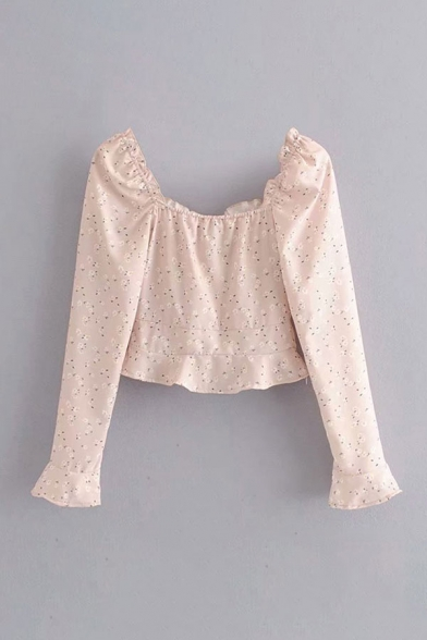 New Stylish Ditsy Floral Printed Stringy Selvedge Ruffle Long Sleeve Square Neck Slim Fit Crop Pink Shirt for Girls