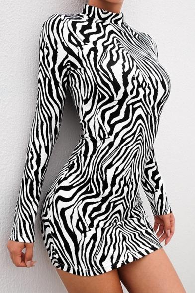 Sexy Black and White Zebra Print Long Sleeve Mock Neck Mini Bodycon Dress for Party
