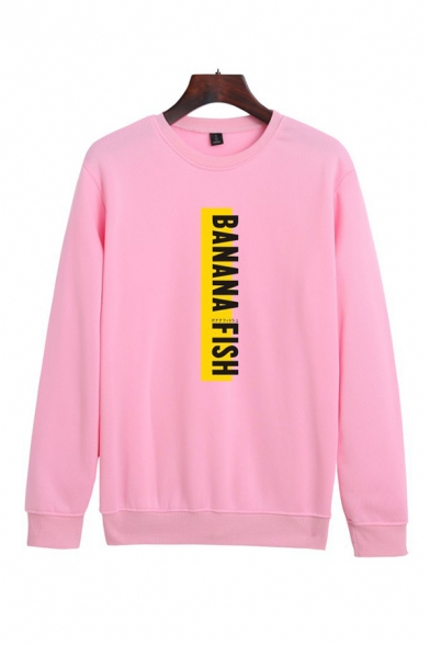 Simple Letter Banana Fish Printed Crew Neck Long Sleeve Relaxed Fit Pullover Sweatshirt