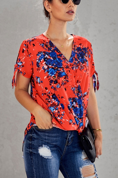 Stylish Flower Printed Bow Tied Short Sleeve V-neck Relaxed Fit Blouse Top for Women