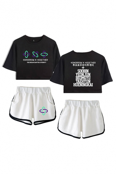 Stylish Ladies Letter The Dream Chapter Eternity Printed Short Sleeve Round Neck Regular Fit Crop Graphic T-Shirt & Elastic Waist Tape Contrast Trim Pockets Shorts Set