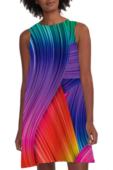 Summer Abstract Colorful Line Printed Round Neck Sleeveless Mini A-Line Tank Dress For Women